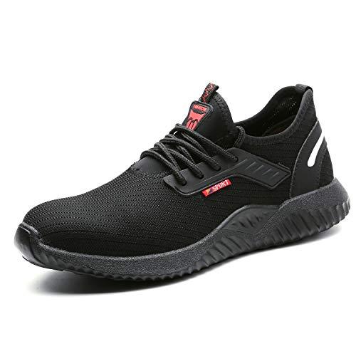 UCAYALI Chaussures de Sécurité Homme Femme Basket de Sécurité Respirante Antidérapantes Chaussure de Travail Chantiers et Industrie avec Embout Acier - Légères et Confortables(Noir, 39)