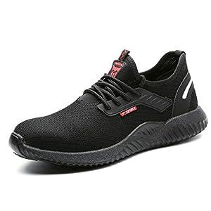 UCAYALI Zapatos de Seguridad con Punta de Acero para Hombre Zapatillas de Trabajo Puntera Reforzada Calzado de Protección Industria Construcción - Cómodos Ligeros y Antideslizantes(Negro, 43)