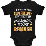 Shirtracer Geschwisterliebe Baby - Ich Habe den weltbesten groen Bruder - 3/6 Monate - Schwarz - Baby Geschenk Junge - BZ10 - Baby Body Kurzarm fr Jungen und Mdchen