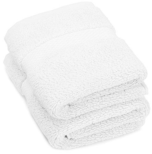 Amazon Brand – Pinzon Heavyweight Luxury Cotton Washcloths - Set of 2, 12 x 12 Inch, White
