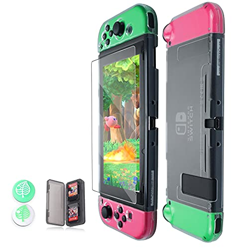 Switch Case, Dockable Case Cover for Switch Protective Case with Tempered Glass Screen Protector & Thumb Grips Caps and Switch Game Case ( Clear )
