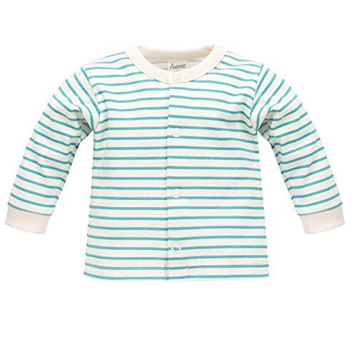 Gestreifter Baby Cardigan Babyjäckchen Oberteil Pullover Baumwolljacke leicht Türkisblau Streifen Langarm - 100% Baumwolle - 56 62 68