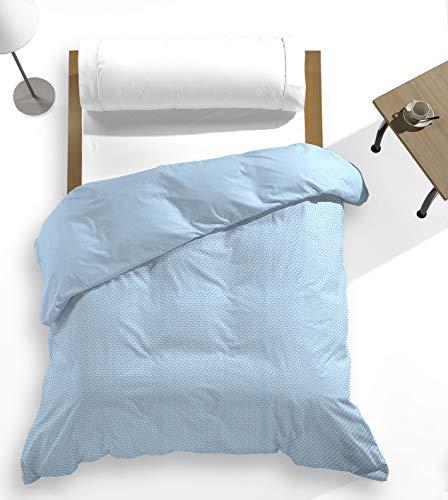 Catotex - Funda nórdica espigas Estampada + Lisa Reversible Trasera para edredón. 50% algodón 50% Poliester. Cama 135 cm Azul. Modelo Kobe
