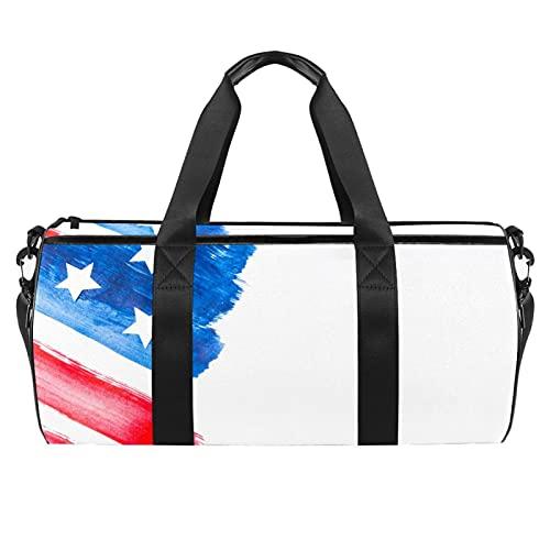 Bolsas de viaje para viajes, deportes, gimnasio, bolsa de semanario, mochila para mujer y bandera pintada a mano, color blanco