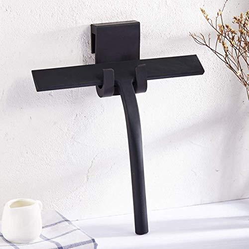 QIMMU Escobilla de Ducha de Silicona Negra con Gancho para Colgar para baño, Cocina, Espejo, Ventana, Limpieza de Cristales de Coche (Negro)
