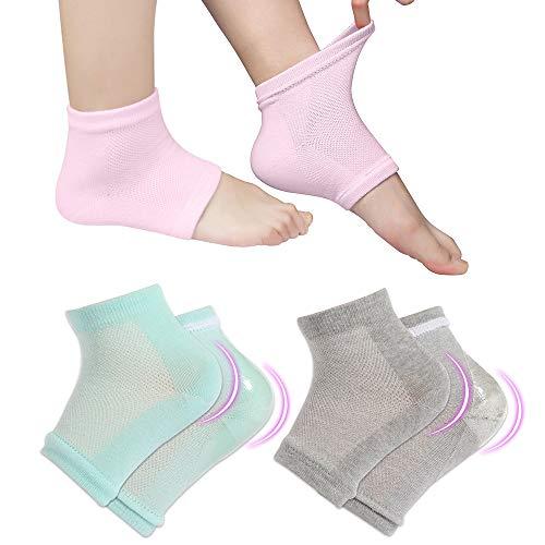 3 Pairs Vented Moisturizing Gel Socks Lotion Gel for Dry Cracked Heels, Spa Gel Socks Humectant Moisturizer Heel Balm Foot Treatment (Pink&Grey&Turquoise)