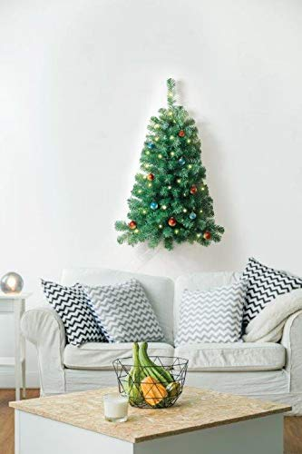 Jobar Prelit 3ft Artificial Christmas Tree Decorated with 50 White Lights Battery Operated Wall Mount