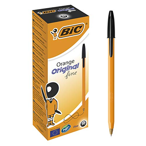 Bic Orange Fine Ballpoint Pens, Fine Point (0.8 mm), Blank Ink, Box of 20 - Writing Pens with Long-Lasting Ink, Black