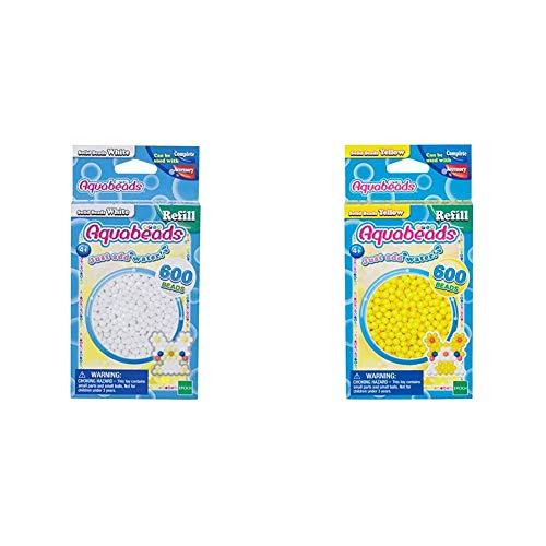 Aquabeads 32638 Perlen weiß & 32528 Perlen Bastelperlen nachfüllen gelb