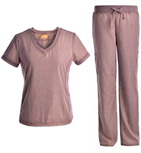 Rib Neck Women Panel Set - Women Slim Workwear Uniforms Top and Pants JS1606 Mossgeen XL