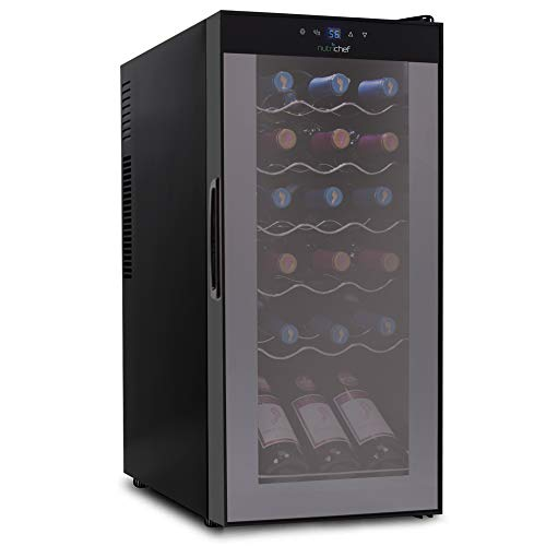 NutriChef Wine Cooler Refrigerator - 18-Bottle Wine Fridge with Air-Tight Glass Door, Touch Screen Digital Temperature Control - Freestanding, Compact - For Apartment, Office, Hotel, Home Bars