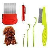 Corrines - Pettine per rimuovere le zecche per cani, gatti, cani, pidocchi, pettine e pettine antipolvere per cani, gatti, confezione da 6
