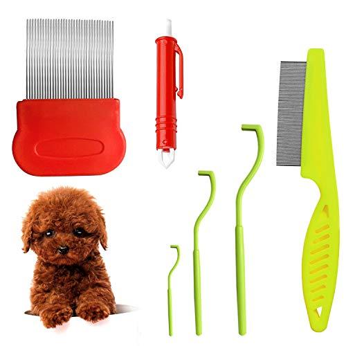Corrines - Pettine per rimuovere le zecche per cani, gatti, cani, pidocchi, pettine e...
