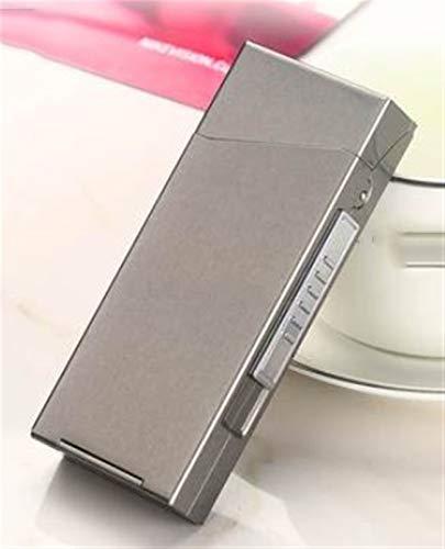 XIAOXIA Caja De Cigarrillo Recargable Pequeña De 20 Piezas Integrado Creativo A Prueba De Viento A Prueba De Viento para Novio (Color : Gray)