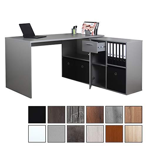 RICOO WM081-PL, Schreibtisch, Holz Hell-Grau, Winkelkombination, Arbeitstisch, Bürotisch, Computertisch, Eckschreibtisch, Akten Schrank Lowboard