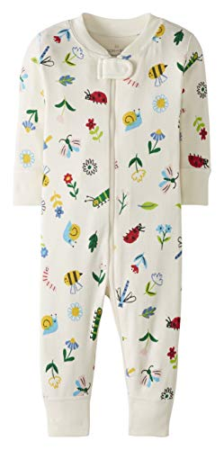 Moon and Back by Hanna Andersson One Piece Footless Pajamas Infant-and-Toddler-Sleepers, Flowers & Critters, 3 Years