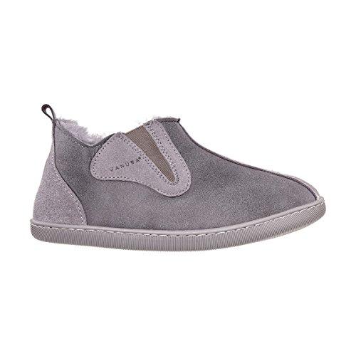 Vanuba Columbia - Pantofole da Donna Artigianali, in Pelle Naturale, Lana di Pecora al 100%, Scarpe da Casa Calde e Confortevoli (39 EU, Grigio (Grey))