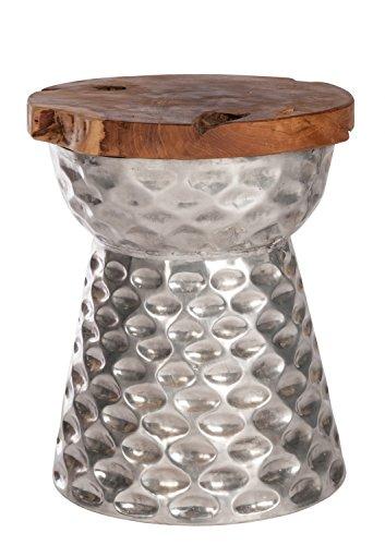Sit Möbel Hocker, ROMANTEAKA, Metall und recyceltes Teakholz, Natur und silberfarbig,