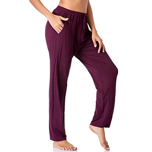 ASIMOON Yoga Pants for Women Comfortable Wide Leg Running Workout Pants Loose Straight Lounge Athletic Pants Burgundy