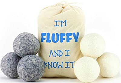 Wool Dryer Balls (6 Pack) Anti-Static Cling, Reduce Drying Time, Reusable Over 1,000 Loads, Save Money - 100% Natural Organic Eco Laundry Balls Fabric Softener - Sensitive Skin, Babies, & Green Mom's!
