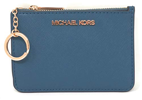 Michael Kors Jet Set Travel Small Top Zip Coin Pouch with ID Holder in Saffiano Leather (Dark Chambray)