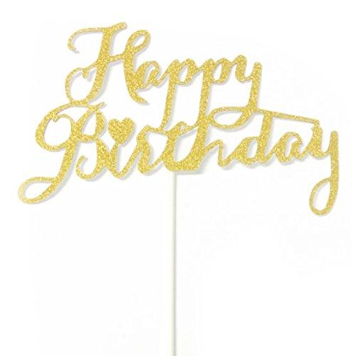誕生日 バースデー ケーキトッパー ケーキピック グリッター 飾り デコレーション (ハートゴールド)