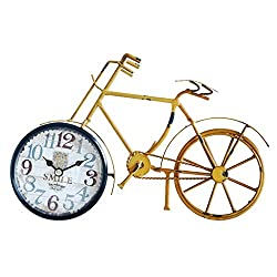 Yxx max Bracket Clock Desk Clock Creative Retro Wrought Iron Bicycle Metal Clock Living Room Bedroom Bedside Mute Non-Ticking Home Decoration Clock Home Outdoor (Color : A)