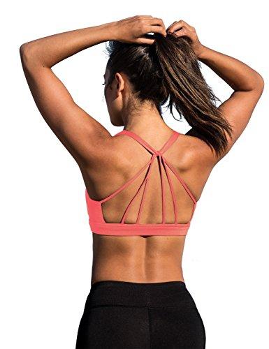 icyzone Sujetador Deportivo Yoga Diseño de Tirantes Cruzados en la Espalda Ejercicio Fitness Ropa Interior para Mujer (S, Coral fusión)