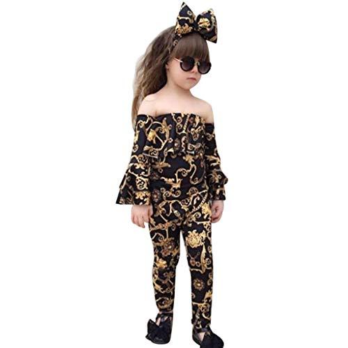 Kleinkind Kinder Mädchen Outfits Drucken Aus der Schulter T-Shirt + Hose + Stirnband Set