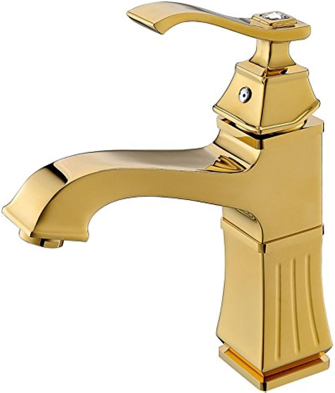 Mangeoo Das Badezimmer voller Kupfer verGoldet Waschtisch Armatur Waschbecken in der Toilette ein kaltes und warmes Wasser, Golden