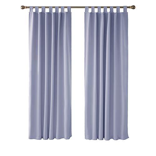 Deconovo Cortina Dormitorio con Aislamiento Térmico Tela Gruesa Color Liso Decoración Hogars con Trabillas 2 Piezas 140 x 200 cm Púrpura Claro