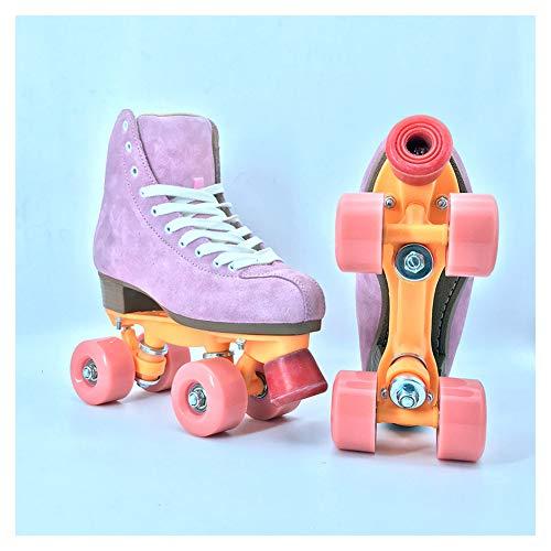 Rong-- Klassische Quad-Skates, Zweireihige Rollerskates, Rollschuhe Für Erwachsene, Muster Für Männer Und Frauen, Zweireihiges Rad, Drinnen Und Draußen Mit Hohem Schuhstil,35