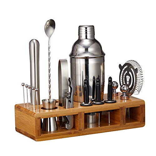 Bartender Kit with Stand, 18pcs Cocktail Shaker Set for Drink Mixing, Stainless Steel Bar Tools Set for a Fantastic Mixing Experience