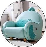 Sillón de dibujos animados de juguete, banco de sofá pequeño, marco de madera maciza, relleno de esponja para niños de 1 a 10 años, color azul y amarillo (color: azul) (color: azul)