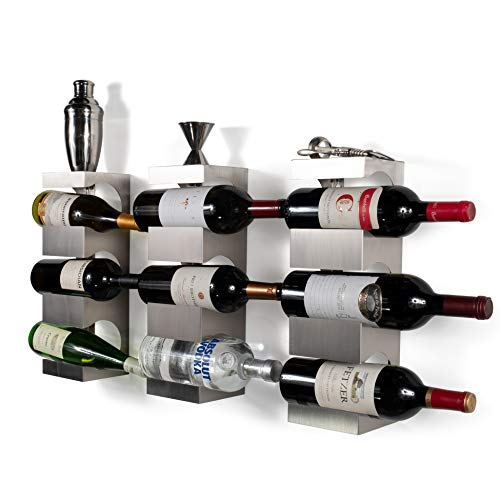 brightmaison 9 Bottle Wine Rack Wall Mounted and Stackable Bottle Rack Holder Storage Organizer with Top Shelf Design for Modern Decor Metal Set of 3 Holds 9 Bottles