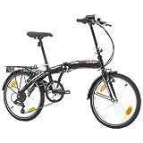Multibrand Probike 20 Pouces Vélo Pliant, Shimano 6 Vitesses, vélo Homme et vélo garçon, Convient de 155 cm à 185 cm (Noir)