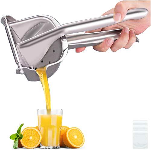 Real Stainless Steel Lemon Squeezer Citrus Juicer Hand Press Heavy Duty Manual Squeeze Juice Extractor Maker Orange Lime Grapefruit Presser - Bonus 50 Pcs Filter Bags