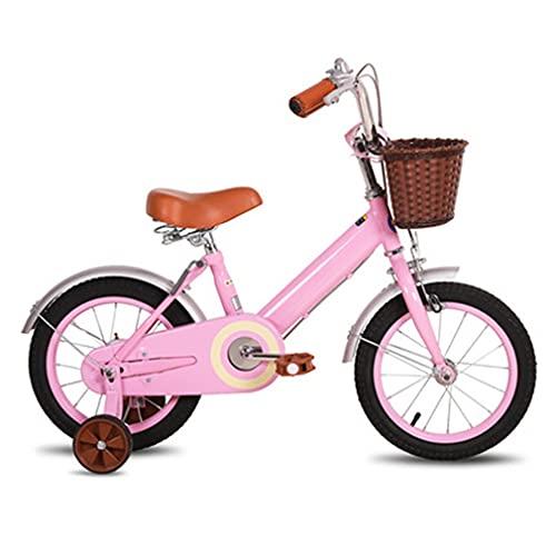DHMKL 12/14/16/18 Pulgadas Bicis Infantiles Bicicleta con Cuadro Acero con Alto Contenido Carbono El Manillar Y El Asiento Pueden Ser RetráCtiles Apto para NiñOs 2 A 13 AñOs Beige/Rosa