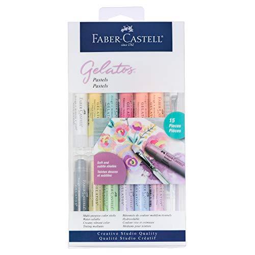 Faber-Castell Gelatos Pastels Color Set, 15 Pastel Colors - Multi-Purpose Art Medium