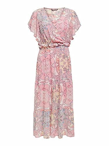 ONLY Damen ONLALLY S/S MIDI Dress WVN Kleid, Sugar Coral/AOP:Desert Paisley, L