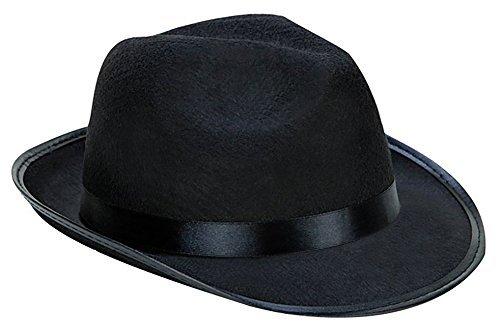 Kangaroo Black Fedora Gangster Hat, Black, Size No Size