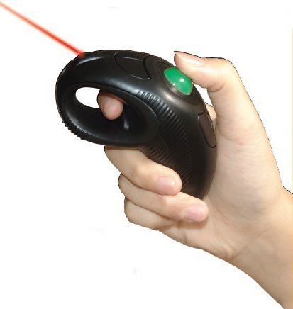 YUMQUA Y-10L Finger Handheld Trackball Mouse with Laser Pointer, 2.4G USB Wireless Trackball Mouse for Laptop Computer PC