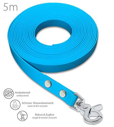 SNOOT Schleppleine 5m Cyan Blau - zugfeste, schmutz- und Wasserabweisende Hundeleine mit einem Karabiner