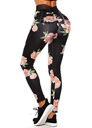 INSTINNCT Damen Hohe Taille Doppeltaschen Sport Leggings Strumpfhose Jogginghose Tights mit Säckel #2 Blumen (Schwarz) M