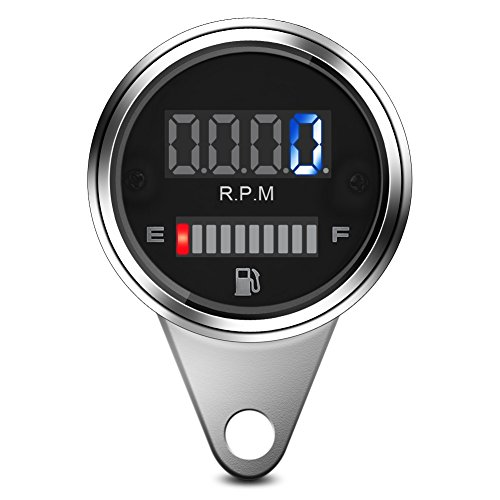 Universeller 12V Drehzahlmesser & Kraftstoffanzeige, 2 in 1 Motorrad Digital LED Tachometer Drehzahlmesser Öl Kraftstoffanzeige