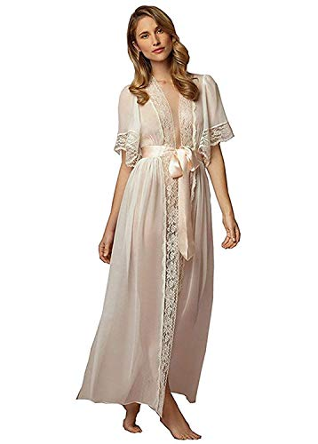 ShineGown Women's Bathrobes with Lace Trim Short Sleeve Sexy Long Nightwear Robe for Wedding Bride Dressing Gowns