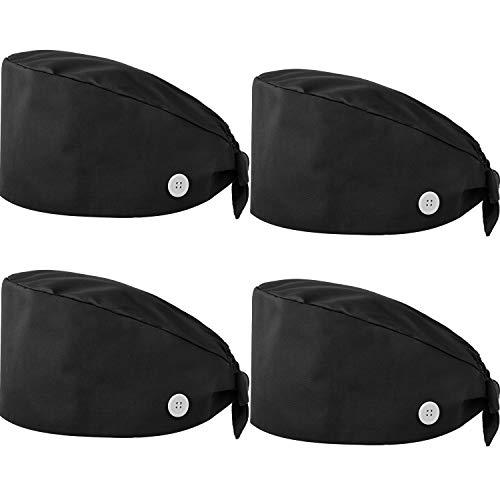 SATINIOR 4 Pieces Adjustable Bouffant Hats Button Sweatband Cap Tie Back Hats for Women Men (Black)