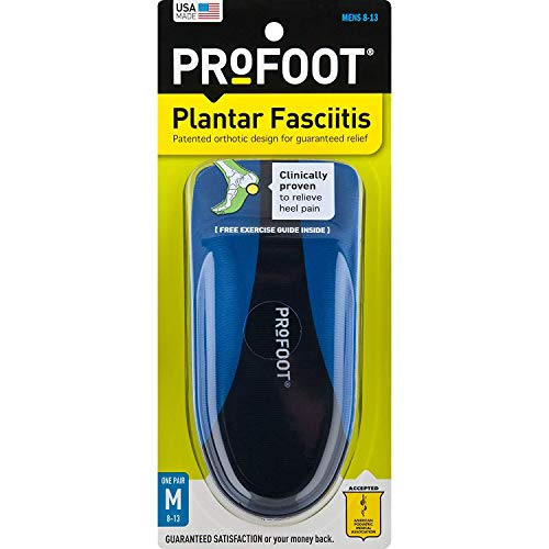 ProFoot Orthotic Insoles for Plantar Fasciitis & Heel Pain, Men's 8-13, 1 Pair