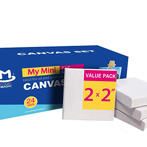 COLOR MAGIC Mini Stretched Canvas - 2x2 Inch/24 Pack - 2/5 Inch Profile Square Canvas for Kids, Ideal for Painting & Craft