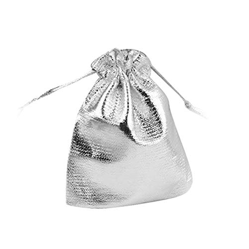 25 Pcs Drawstring Organza Jewelry Party Favor Wedding Candy Gift Pouch Bags Silver Practical Design and Durable